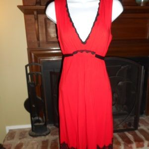 Eva Franco Bright red dress with black crochet, 2